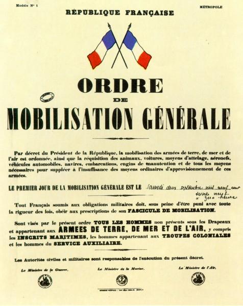 Le premier jour de la mobilisation générale est le samedi deux